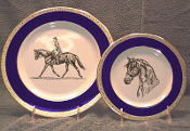 Wide Band Cobalt Blue Plate with Heavy Gold Band - 10 1/2""