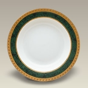 "6359 9"" Malachite Rim Shaped Soup Bowl"